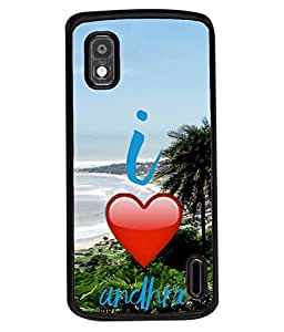 PrintVisa Designer Back Case Cover for LG Google Nexus 4 E960 (I love Andhra south India Favourite Place)