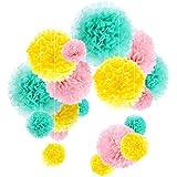 Outus Pompones de Papel de Seda Bola de Flor Papel Decoraciones de Fiesta Boda, 18 Piezas (Menta,Rosa y Amarillo)