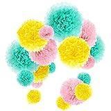Pompones de Papel de Seda Bola de Flor Papel Decoraciones de Fiesta Boda, 18 Piezas (Menta,Rosa y Amarillo)