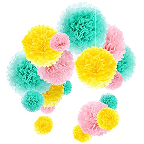Outus Tissue Paper Pom Poms Flower Ball Kit Party Wedding Decorations, 18 Pieces (Mint, Pink and Yellow) - Tessuto Abbellire