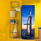 HHYS BX035 DIY 3D Kühlschrank Türaufkleber Selbstklebend Wasserdicht Dubai Segelboot Hotel Landschaftsmalerei,60X150cm(23.6''X59'')