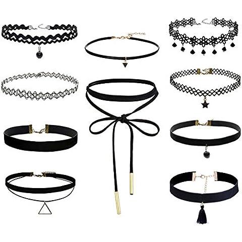 floweralight 10pezzi Set collana girocollo elasticizzato velluto girocollo classica per ragazze RB105