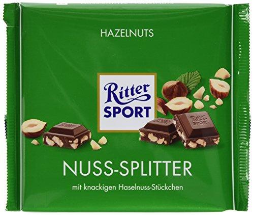 (RITTER SPORT 250g Nuss-Splitter, Vollmilchschokolade mit Nuss-Stückchen, gehackte Haselnüsse in köstlicher Schokolade, nussige Großtafel)