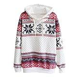 Pull Sweatshirt Femme Hoodie de neige de Noël à manches longues Sweat-shirts Grande Taille Pull-over à capuche (L-Buste:36.2', Multicolore)