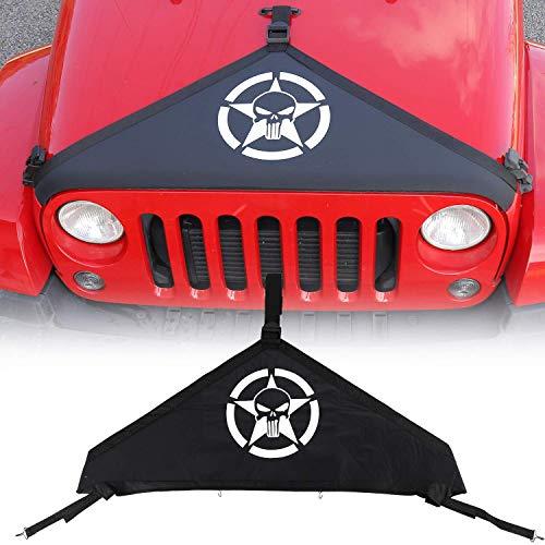 L&U Coperchio Cofano Anteriore Copertura Proteggi Telo Protezione T-Style Kit per 2007-2017 Jeep Wrangler JK,Skull
