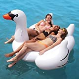 Rexco HW218745 New White Summer Lake Swimming Lounge Pool Large Jumbo Giant Kinder Erwachsene Rideable Lounger Ride On Swan Bird Aufblasbare Float Toy Lilo