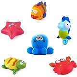 Yojoloin Juguetes de baño Peces, Estrellas de mar, caballitos de mar (6PCS), Juguetes de baño Suaves, Juguetes de baño con Cr