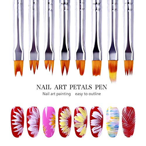 8 Pezzi 3D Nail Art Brush, Pennello Acrilico Sfumato Set Gel Fai Da Te Flower Petal Pennelli Unghie Drawing Pen - French Manicure Brush Tools for Girls