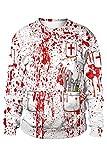 tianxinxishop Unisex Sudadera con Estampado de Sangre en 3D de Halloween Zombie Surgeon Blood Handprint Jersey de Cuello Redondo, L