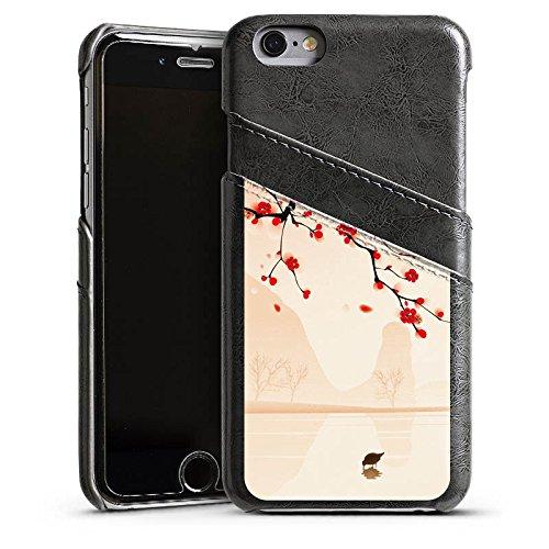 Apple iPhone 5 Housse Outdoor Étui militaire Coque Branche d'arbre Feuilles Fleurs Étui en cuir gris