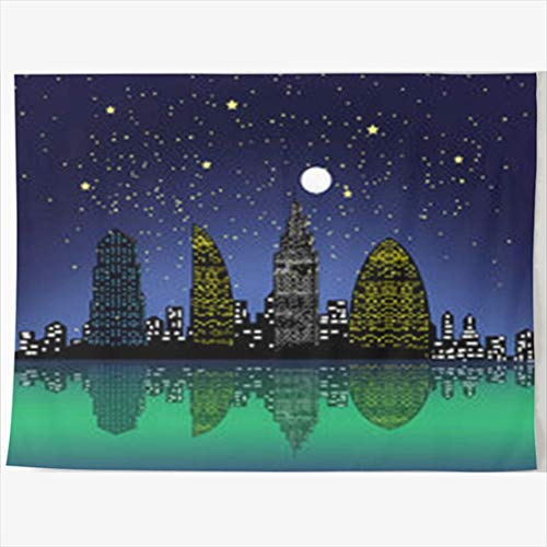 Daawqee Tapestries Wall Hangings 80 x 60 Inches Black City Night Abstract Wall Hanging Tapestries Decor Home Bedroom Living Kids Girls Boys Room Dorm