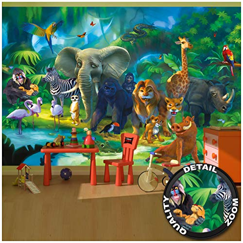 Poster fotografico per la stanza die bambini giungla degli animlai poster decorazione jungle animals zoo natura safari avventura tigre leone elefante scimmia i fotomurales by great art (336 x 238 cm)