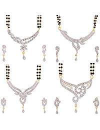 Zeneme Women's Pride Precious American Diamond Gold Plated Mangalsutra Combo 4 Set