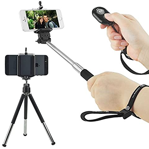 Universal Wireless Selfie Kit including Selfie Stick, Tripod and Bluetooth Remote Control. Handsfree Control of (Metri Stick)