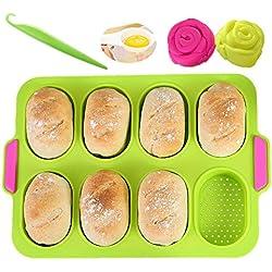 KeepingcooX® Mini Plateau de cuisson pour mini-baguettes, 34 x 24 cm, poêle perforée anti-adhésive - Plateau à pain croustillant, moule de cuisson de pain, Le forfait comprend 2 mini moules à roses