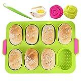 KeepingcooX Mini teglia da forno per baguette, 34 x 24 cm, padella antiaderente - Vassoio per pane croccante, stampo da forno