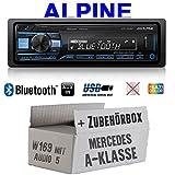 Mercedes A-Klasse W169 Audio 5 - Autoradio Radio Alpine UTE-200BT Bluetooth USB MP3 | 1-Din PKW KFZ 12V Einbauzubehör - Einbauset