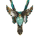 Black Friday Deals Cyber Monday Deals Sale Week 2017-Vintage Retro Bohemia Style Pendant Opal Eagle Necklace Owl Necklace Pretty Jewelry Christmas Gifts for Women(Blue)