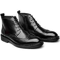 Hombres de la moda casual Boots botas botas de cuero UK,Black,Cuarenta y cuatro