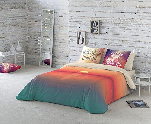 NATURALS Juego De Funda Nórdica Sunset Naranja/Crudo Cama 150 (240 x 220 cm + 2/45 x 90 cm)
