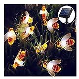 Solar Lichterkette Außen, 30 LED Honeybee Wasserdichte Outdoor Gartenleuchte für Blumen, Bäume, Terrasse, Weihnachtsdekoration (Warm White)