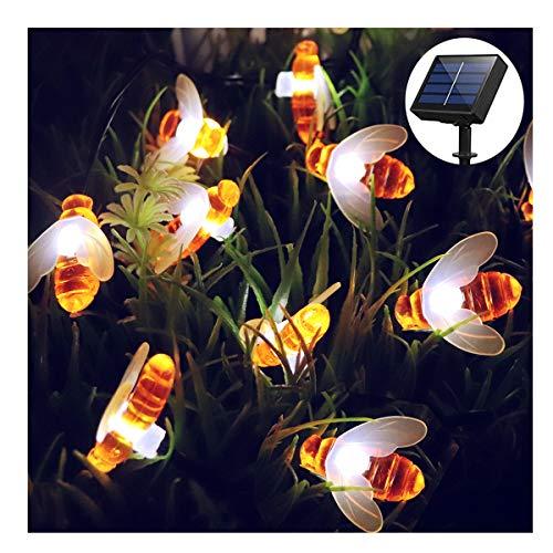 Luci natalizie da esterno, forma di ape luci solari 30 led impermeabile da esterno giardino luce per fiori, alberi, patio, decorazione di natale (bianco caldo)
