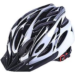 Uzexon Casco ciclista de ciclismo de MTB (18 aberturas), adultos Casco ligero unisex de bicicleta con visera desmontable y forro suave, sistema de rueda ajustable (Blanco/Negro)