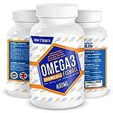 Omega 3 Premium Fish Oil 2000mg - 660 EPA 440 DHA per serving - High Strength, Brain, Cardio & Vision Support - 180 Softgels