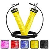 Rapide Jump–Seil verstellbar Kabel, Rapid Kugellager & rutschfesten Griffen–Springseil für schnelle Gewicht Loss & für Bewegung, Cardio, Crossfit, gelb