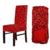 MultiWare Stretch Chair Seat Cover 6 Pcs Removable Washable Dining Room Stool Chair Slipcovers(Red and Black)