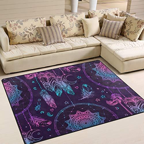 Tenboya Rug - Alfombra Antideslizante para salón o Dormitorio (120 x 160 cm), diseño de atrapasueños con Plumas y Luna, Tela, 120x160cm (4' x 5'Feet)