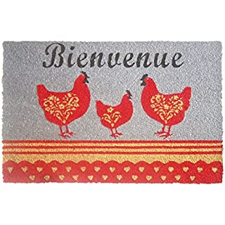 Aubry Gaspard Fußmatte Hühner, Grau/Rot
