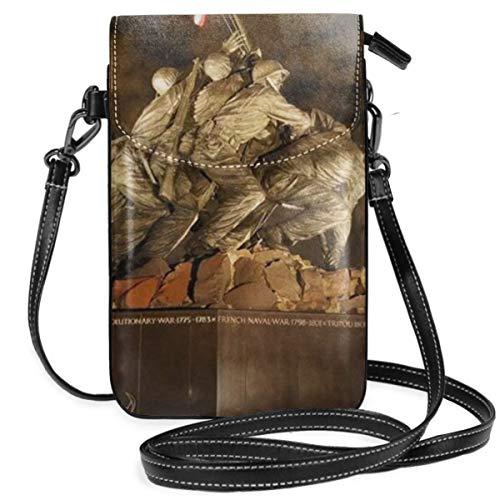 WAUKaaa USMC War Memorial Leather Cell Phone Purse Holder Wallet Functional Multi Pocket for Women -