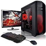 """Megaport Super Méga Pack - Unité Centrale PC Gamer Complet 8-Core AMD FX-8320E • Ecran LED 22"""" • Clavier et Souris Gamer • GeForce GTX 1050Ti • 16Go • 1To • Windows 10 Ordinateur de Bureau PC Gaming"""