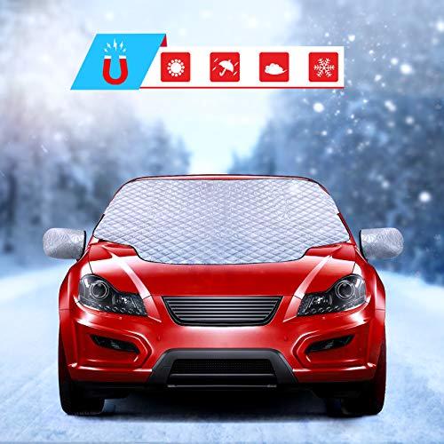 Fenvella copertura parabrezza auto, magnetic protezione per parabrezza per antighiaccio impermeabile protezione uv con due coperture per specchi, copri parabrezza per la maggior parte dei auto