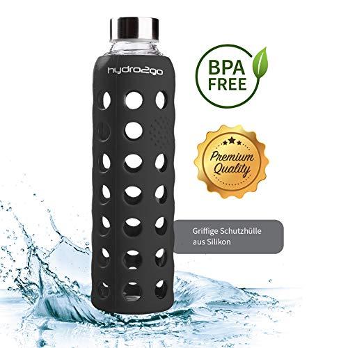 hydro2go Sport Trinkflasche - aus Glas 550 ml - getestet BPA Frei und 100{079dd9fb06cfc6b77b00c6ddd836eee0684667352badc5b25b37c8c0e3a8111c} auslaufsicher - Premium Glasflasche mit Silikonhülle für unterwegs, Smoothies, Büro, Fitness, Yoga & Sport