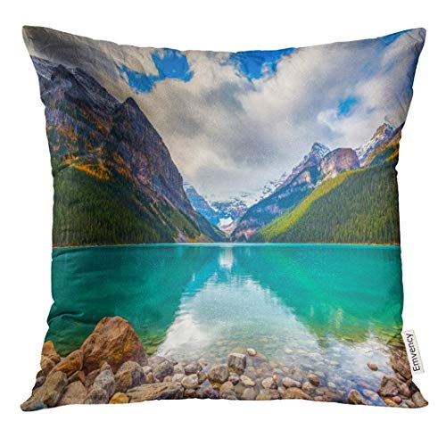 Throw Pillow Cover Beautiful Autumn Views of Iconic Lake Louise in Banff National Park The Rocky Mountains Alberta Canada Decorative Pillow Case Home Decor Square 18x18 Inches Pillowcase