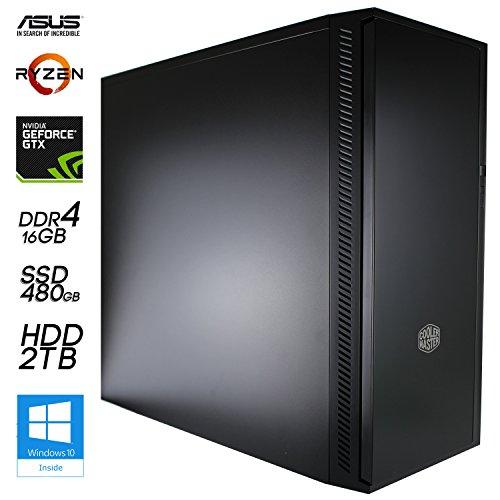 SNOGARD Octa Core Ultra Gamer PC | AMD Ryzen 7 1700X 8x 3400MHz Sockel AM4, 8GB NVIDIA GeForce GTX1080 PCIe Overclocked, 16GB DDR4 RAM, 480GB SSD + 2TB HDD + CD/DVD-Rewriter | 8 Core High Power Gaming Komplett System | Custom PC-Gaming Desktop Computer | Spiele-PC incl. Windows 10
