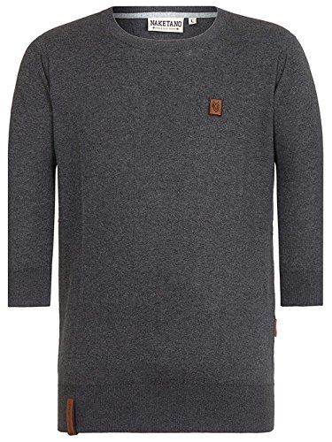 Herren Strickjacke Naketano Legend Of Mucielargo II Strickpullover Dark Grey Melange