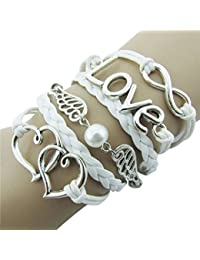 Coromose Men's DIY Style Jewelry Leather Cute Infinity Charm Bracelet Love #2