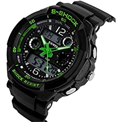 ETOWS® Boys Girls Sport Digital Watch Quartz Led Watch 50M Waterproof Students Children''s Wrist Watch (Green)