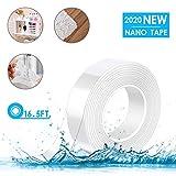 Kaufam 5M Nano Tape, Nano Tech Doppelseitiges Klebeband Waschbares Spurloses Transparent Durchsichtiges Klebebänder Wiederverwendbare, Mehrfach Verwendbare Wasserdichtes Rutschfest