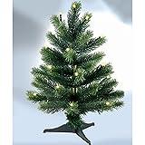 PROHEIM Mini Weihnachtsbaum 45cm Voll-PE Christbaum mit LED Belechtung inkl. Standfuß künstlicher Tannenbaum 100% aus PE Spritzguss B1 schwer entflammbar