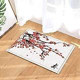 fuhuaxi Chinesische bemalte rote Pflaume Bad Badewanne Rutschfeste Anti-Rutsch-Bodentür, Türmatte außen, Badematte 40x60cm, Badmatte