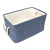 Lumanuby 1 Stück Cotton Aufbewahrungskorb Baumwolle Material Storage Box für Kleidung/Spielzeug/Baby-Produkt/Heimtierbedarf, Faltbar Unterwäsche Aufbewahrungsboxen 40*28*23.5CM,Blau