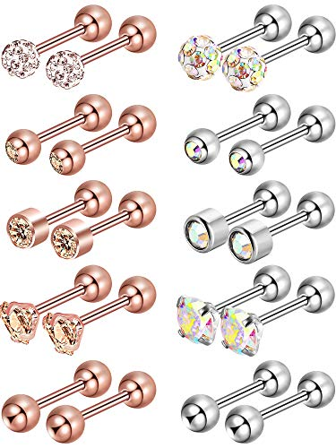 Edelstahl-Ohrstecker Runde Ball Ohrstecker Zirkonia Barbell Ohrring Set Helix Piercing für Tragus Knorpel Ohr, 5 Stil (Farbe Satz 2, 10 Paare)