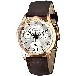 Zeno-Watch Herrenuhr - Gentleman Chronograph Big Date Q gold plated - 6662-8040Q-Pgr-f3