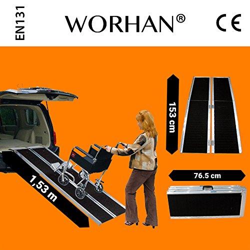 1R5 153cm solo pliegue WORHAN/® Rampa Plegable Carga Silla de Ruedas Discapacitado Movilidad Aluminio Anodizado
