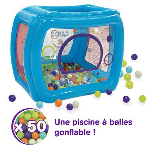 LUDI - Piscine à balles gonflable 175 x 82 x 98 cm. Dès 2 ans. 50 balles pour jouer et se défouler ! Structure stable pour créer un petit parc d'attractions. Plastique épais et durable - 90003