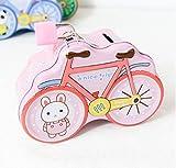 SKNSM Sparschwein Fahrrad Sparschwein Fun Weißblech Aufbewahrungsbox (Pink) für Ein Geschenk